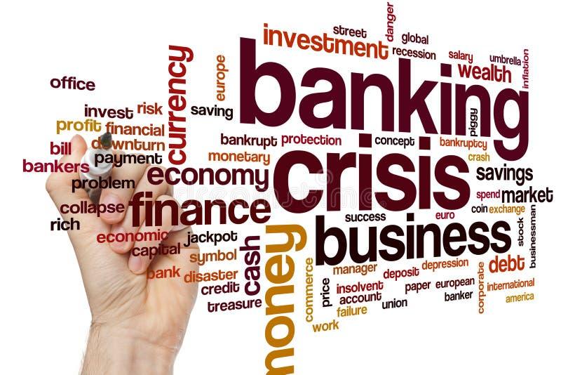 Σύννεφο λέξης τραπεζικής κρίσης στοκ φωτογραφία με δικαίωμα ελεύθερης χρήσης