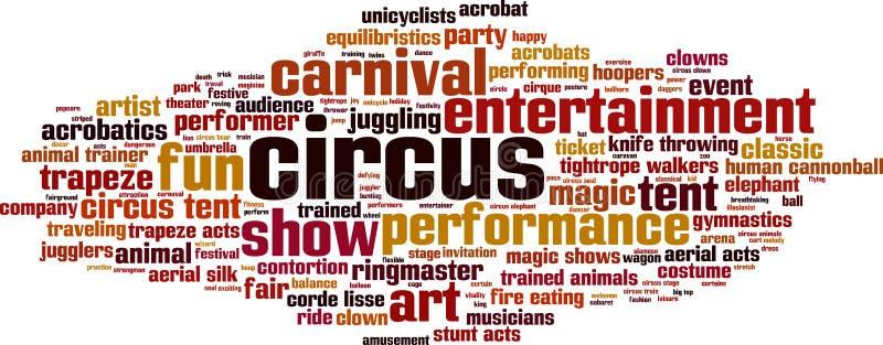 Σύννεφο λέξης τσίρκων απεικόνιση αποθεμάτων