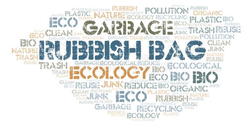 Σύννεφο λέξης τσαντών σκουπιδιών ελεύθερη απεικόνιση δικαιώματος