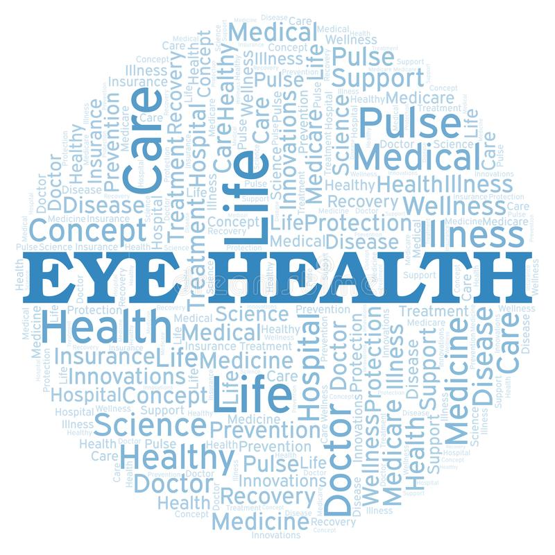 Σύννεφο λέξης υγείας ματιών διανυσματική απεικόνιση