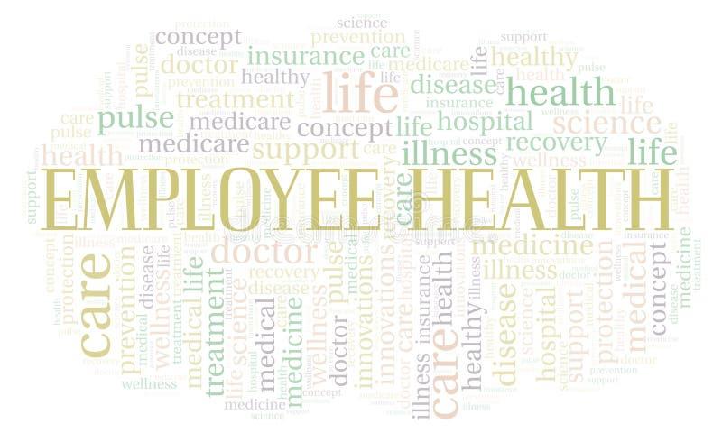 Σύννεφο λέξης υγείας υπαλλήλων διανυσματική απεικόνιση
