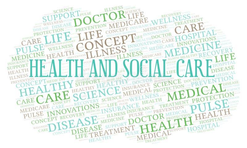 Σύννεφο λέξης υγειονομικής και κοινωνικής περίθαλψης απεικόνιση αποθεμάτων