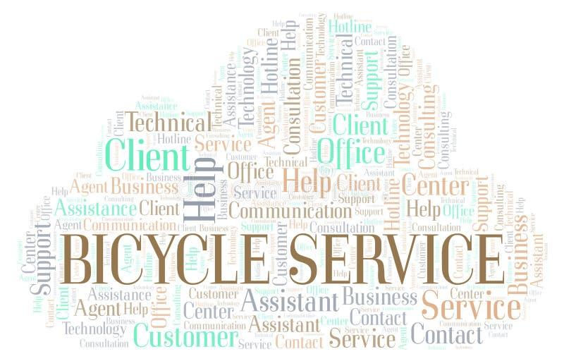 Σύννεφο λέξης υπηρεσιών ποδηλάτων απεικόνιση αποθεμάτων