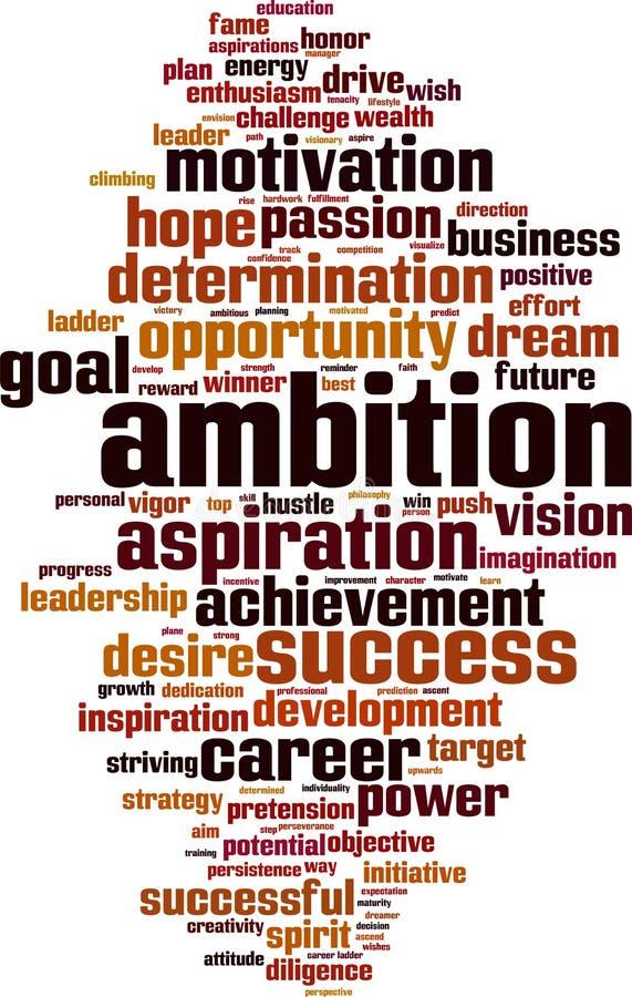 Σύννεφο λέξης φιλοδοξίας απεικόνιση αποθεμάτων