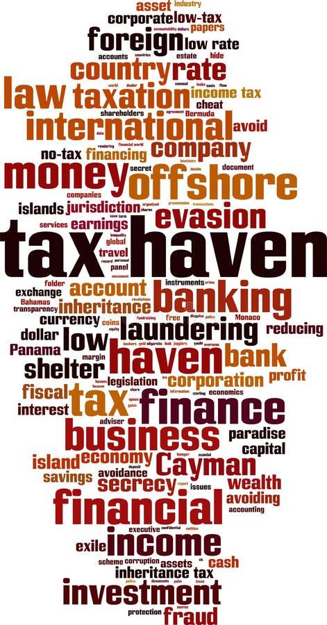 Σύννεφο λέξης φορολογικών παραδείσων διανυσματική απεικόνιση