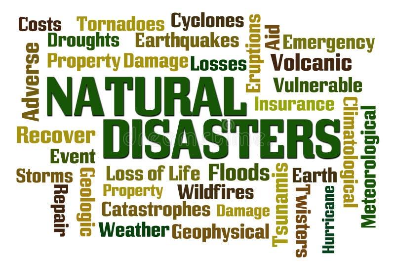 Σύννεφο λέξης φυσικών καταστροφών διανυσματική απεικόνιση