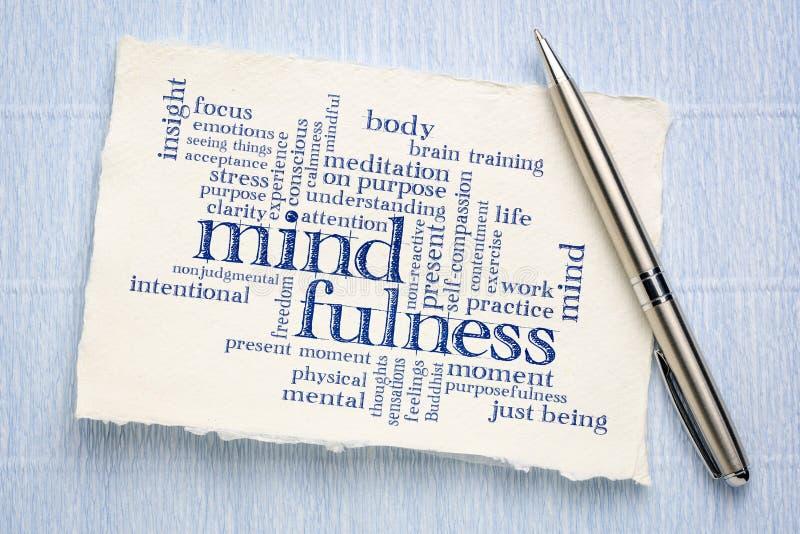 Σύννεφο λέξης Mindfulness σε χειροποίητο χαρτί στοκ φωτογραφίες με δικαίωμα ελεύθερης χρήσης