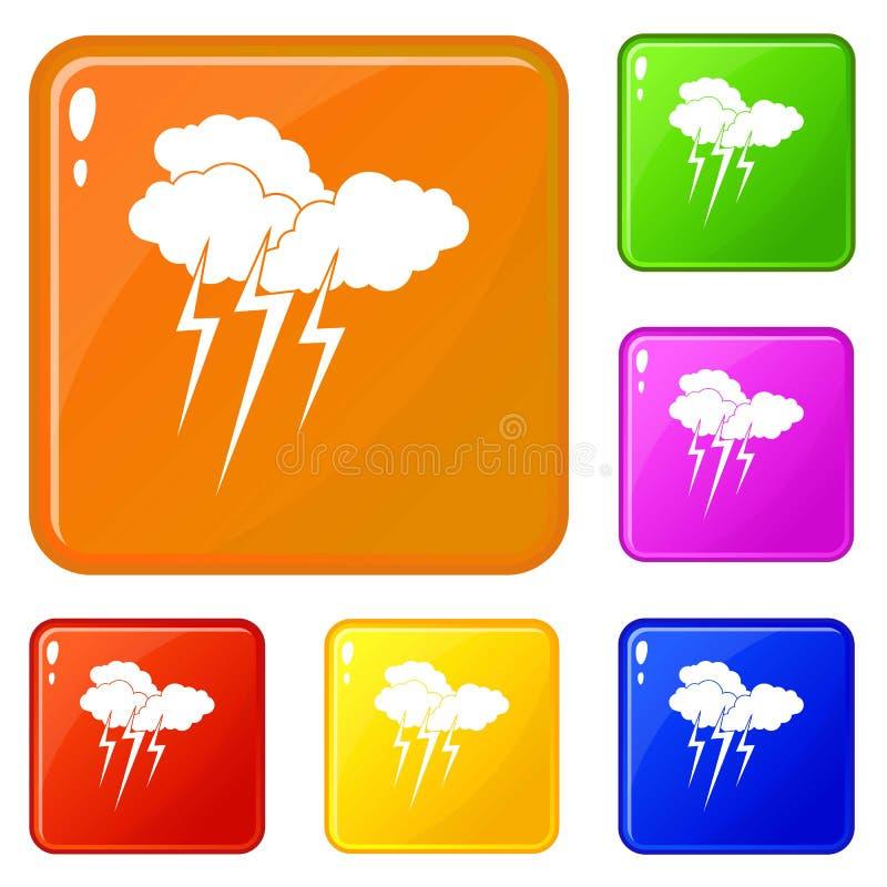 Σύννεφο με τα εικονίδια αστραπής καθορισμένα το διανυσματικό χρώμα διανυσματική απεικόνιση