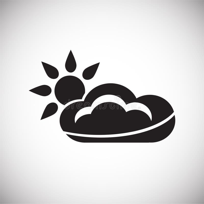 Σύννεφο με τον ήλιο στο άσπρο υπόβαθρο ελεύθερη απεικόνιση δικαιώματος