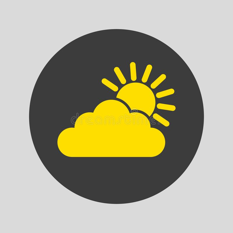 Σύννεφο με το εικονίδιο ήλιων στο γκρίζο υπόβαθρο απεικόνιση αποθεμάτων