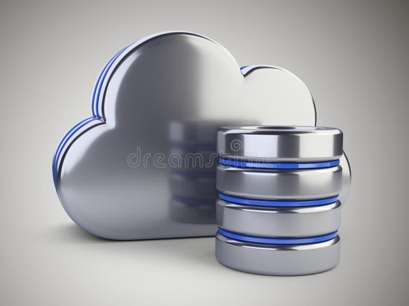Σύννεφο με το σύμβολο βάσεων δεδομένων Έννοια υπολογισμού και αποθήκευσης σε ένα γ ελεύθερη απεικόνιση δικαιώματος