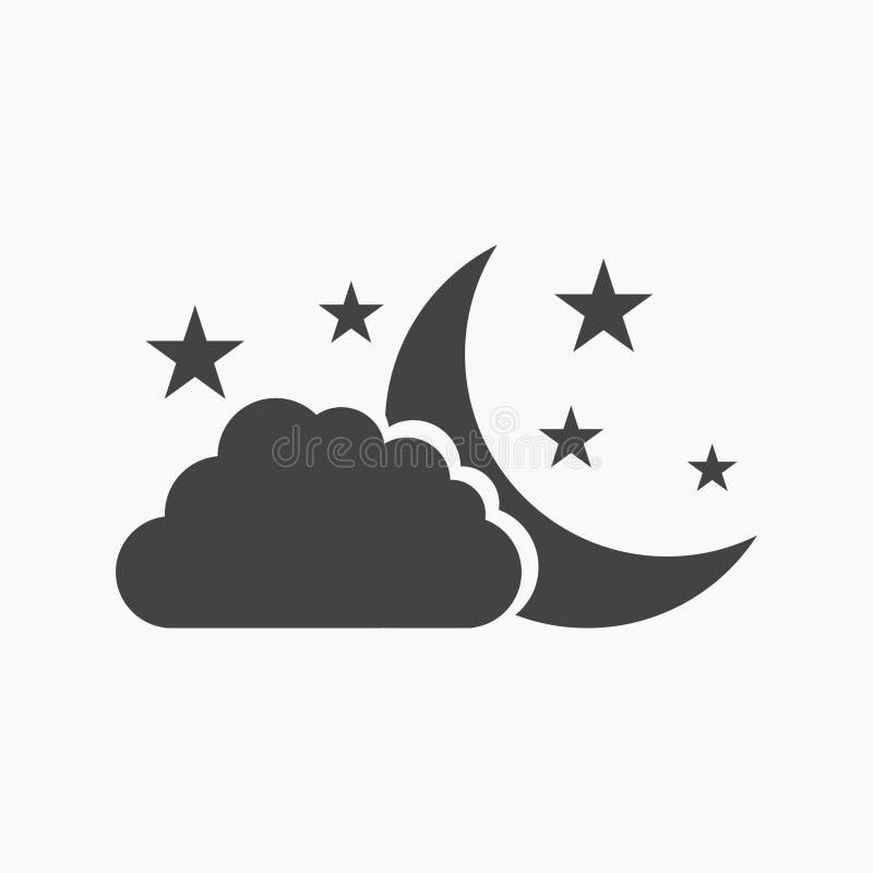 Σύννεφο με το φεγγάρι και το εικονίδιο αστεριών ελεύθερη απεικόνιση δικαιώματος