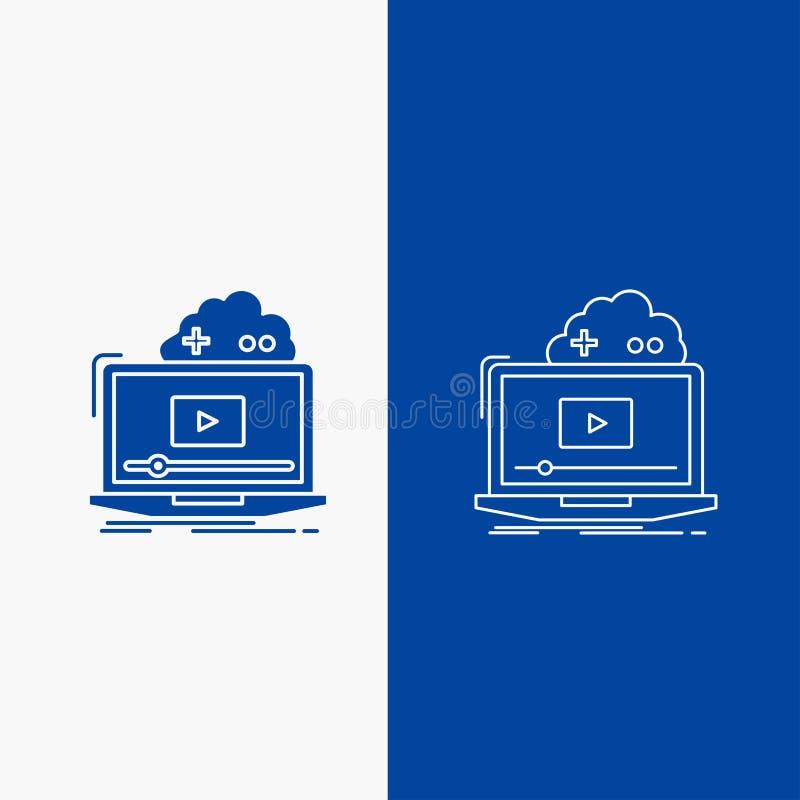 Σύννεφο, παιχνίδι, σε απευθείας σύνδεση, ρέοντας, τηλεοπτικά γραμμή και κουμπί Ιστού Glyph στο μπλε κάθετο έμβλημα χρώματος για U διανυσματική απεικόνιση