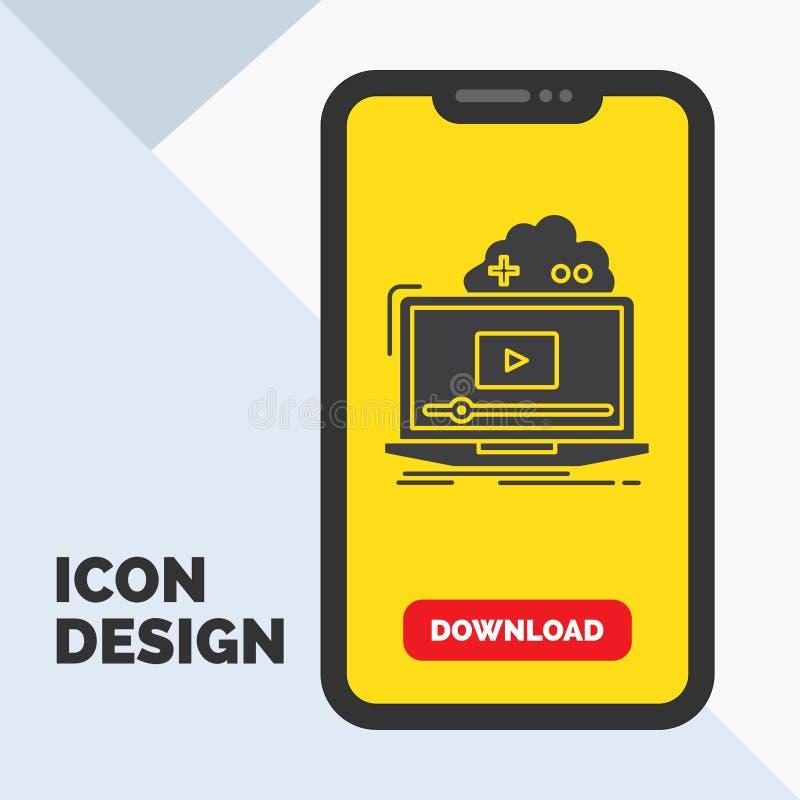 Σύννεφο, παιχνίδι, σε απευθείας σύνδεση, ρέοντας, τηλεοπτικό εικονίδιο Glyph σε κινητό για Download τη σελίδα r διανυσματική απεικόνιση
