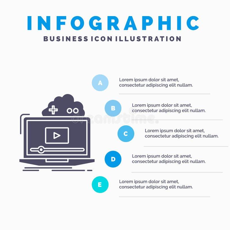 Σύννεφο, παιχνίδι, σε απευθείας σύνδεση, ρέοντας, τηλεοπτικό πρότυπο Infographics για τον ιστοχώρο και παρουσίαση Γκρίζο εικονίδι διανυσματική απεικόνιση