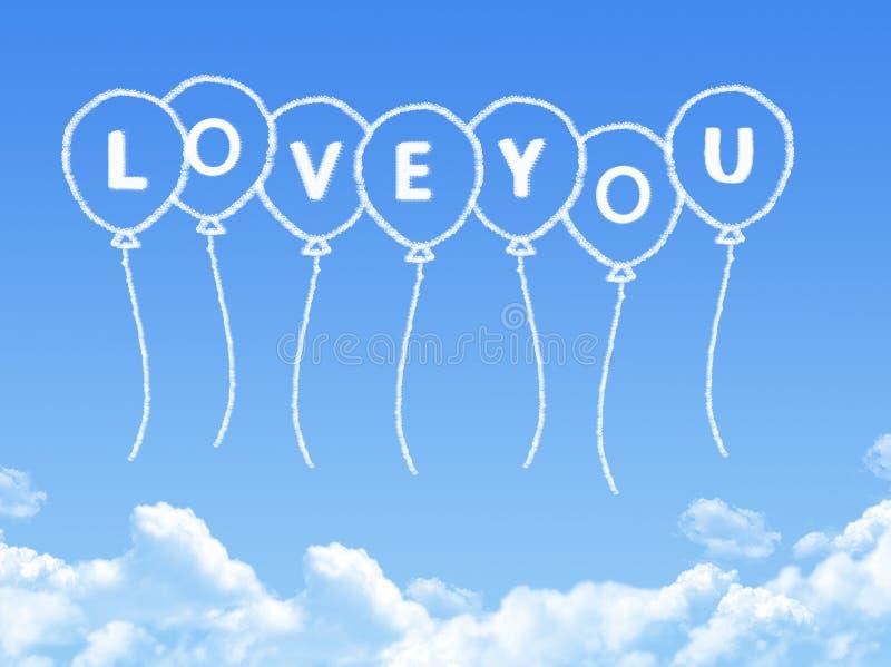 Σύννεφο που διαμορφώνεται ως αγάπη σας μήνυμα απεικόνιση αποθεμάτων