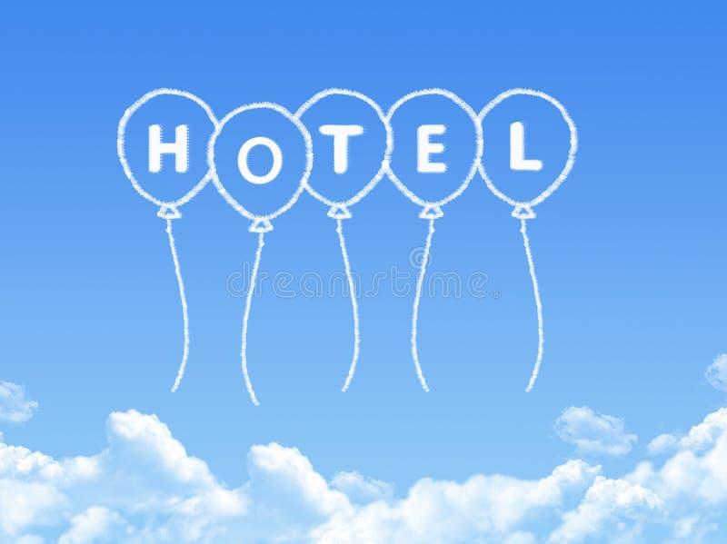 Σύννεφο που διαμορφώνεται ως μήνυμα ξενοδοχείων ελεύθερη απεικόνιση δικαιώματος