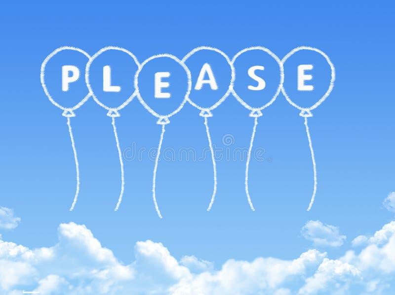 Σύννεφο που διαμορφώνεται ως παρακαλώ μήνυμα διανυσματική απεικόνιση