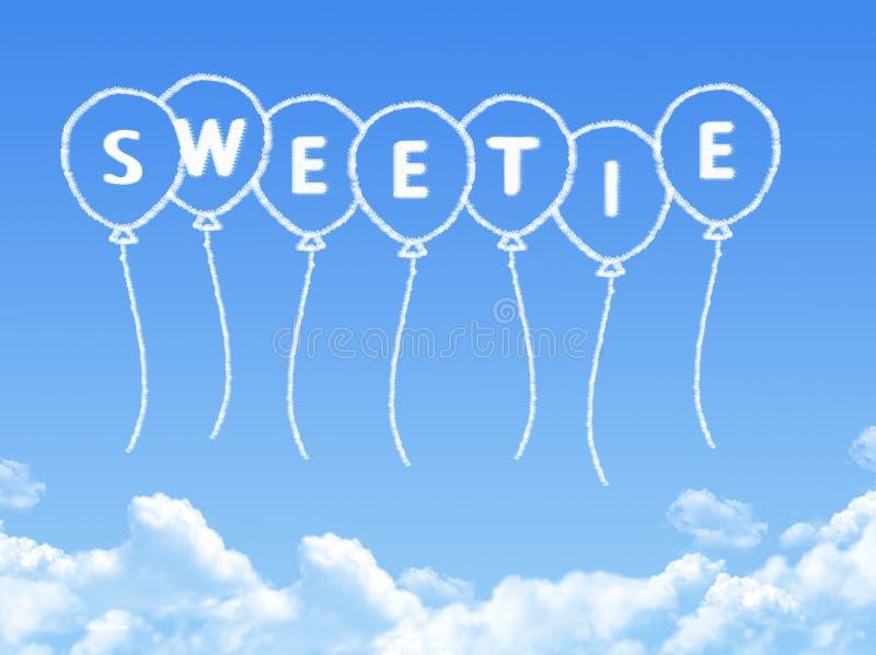 Σύννεφο που διαμορφώνεται ως sweetie μήνυμα απεικόνιση αποθεμάτων
