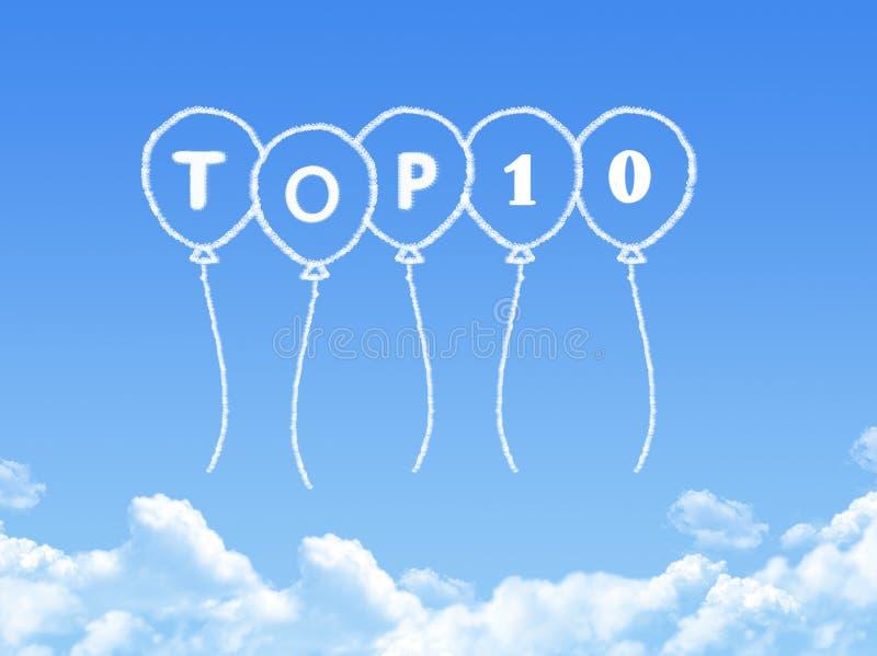 Σύννεφο που διαμορφώνεται ως top 10 μήνυμα ελεύθερη απεικόνιση δικαιώματος