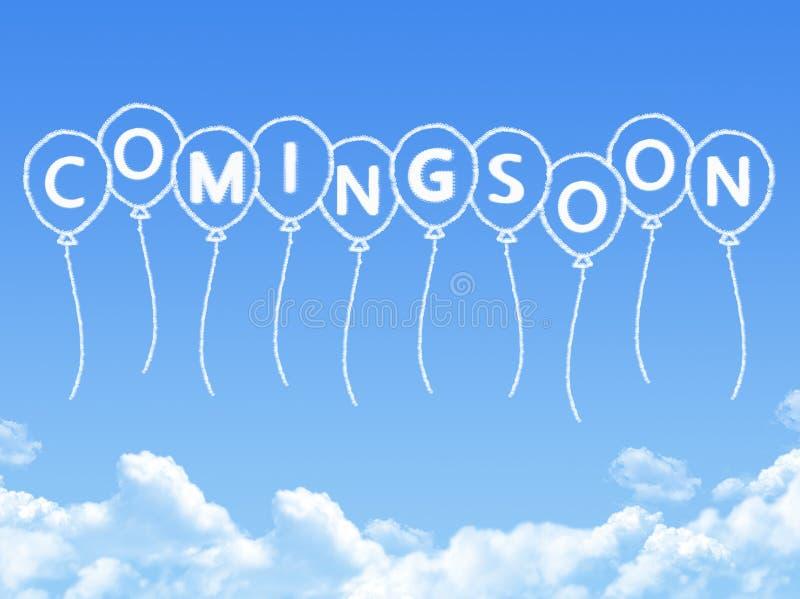 Σύννεφο που διαμορφώνεται όπως να έρθει σύντομα μήνυμα διανυσματική απεικόνιση