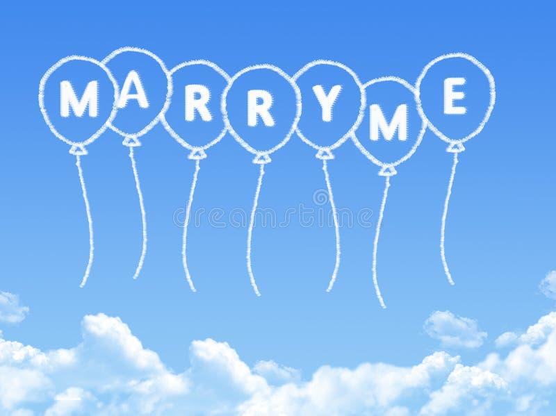 Σύννεφο που διαμορφώνεται όπως παντρεύει εγώ μήνυμα διανυσματική απεικόνιση
