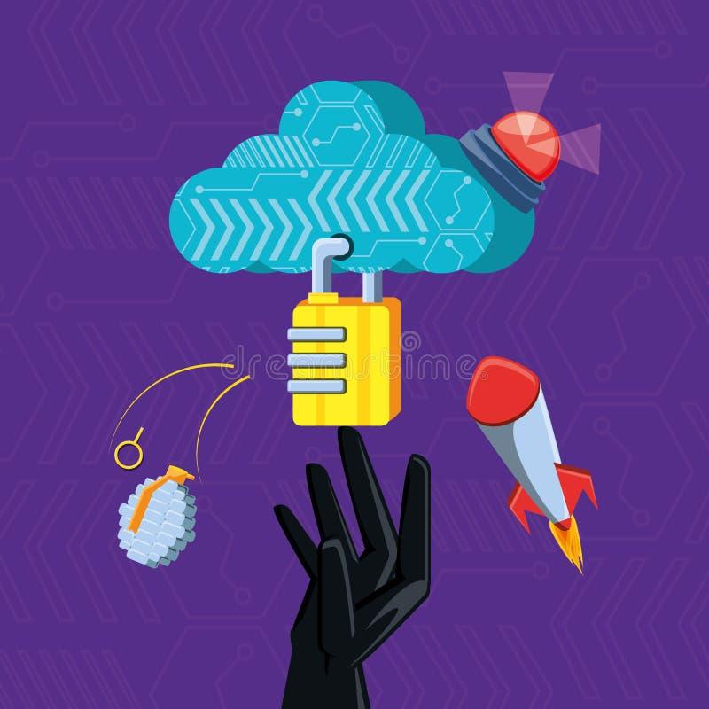 Σύννεφο που υπολογίζει με την καθορισμένη ασφάλεια εικονιδίων cyber διανυσματική απεικόνιση