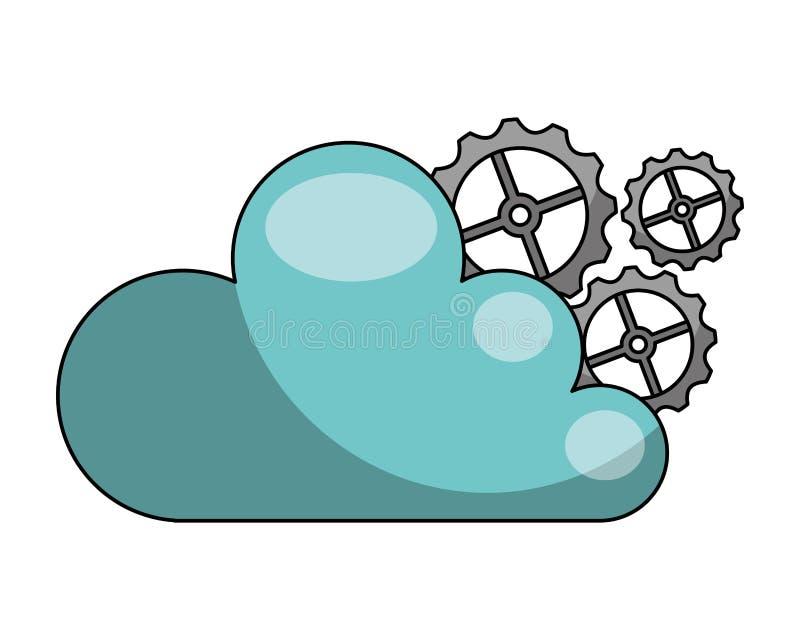 Σύννεφο που υπολογίζει με το απομονωμένο μηχανή εικονίδιο εργαλείων διανυσματική απεικόνιση