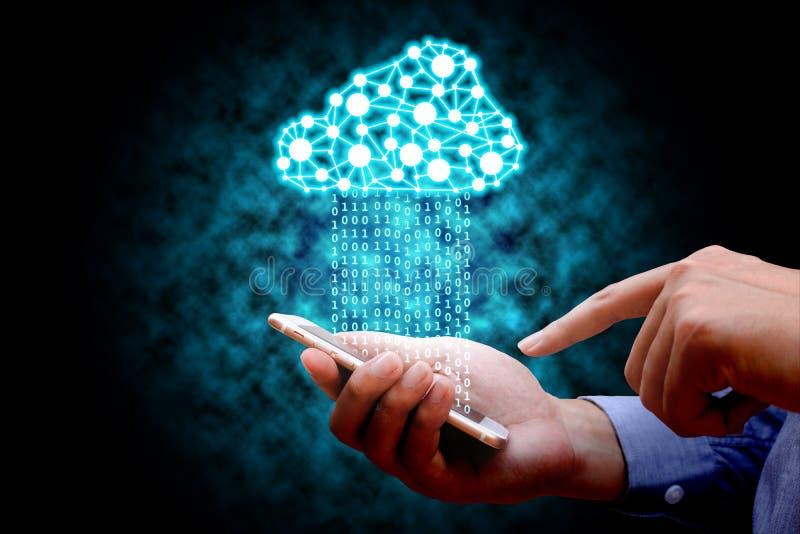 Σύννεφο που υπολογίζει, έννοια συνδετικότητας τεχνολογίας, επιχειρηματίας εμείς στοκ φωτογραφίες με δικαίωμα ελεύθερης χρήσης