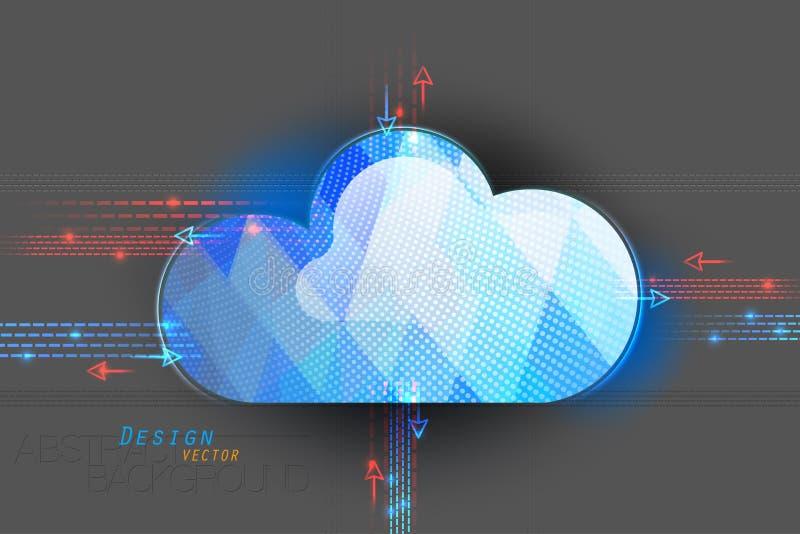 Σύννεφο που υπολογίζει σε έναν γκρίζο απεικόνιση αποθεμάτων