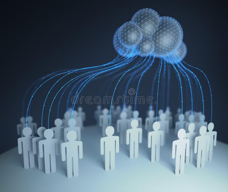 Σύννεφο που υπολογίζει τους διασυνδεμένους ανθρώπους διανυσματική απεικόνιση