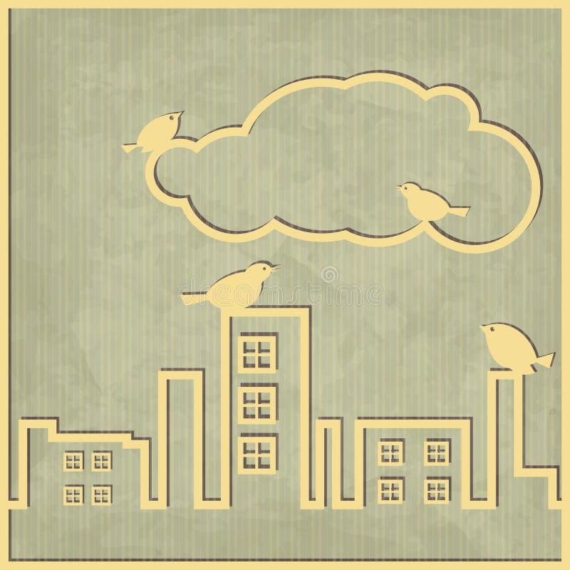 Σύννεφο πόλεων διανυσματική απεικόνιση