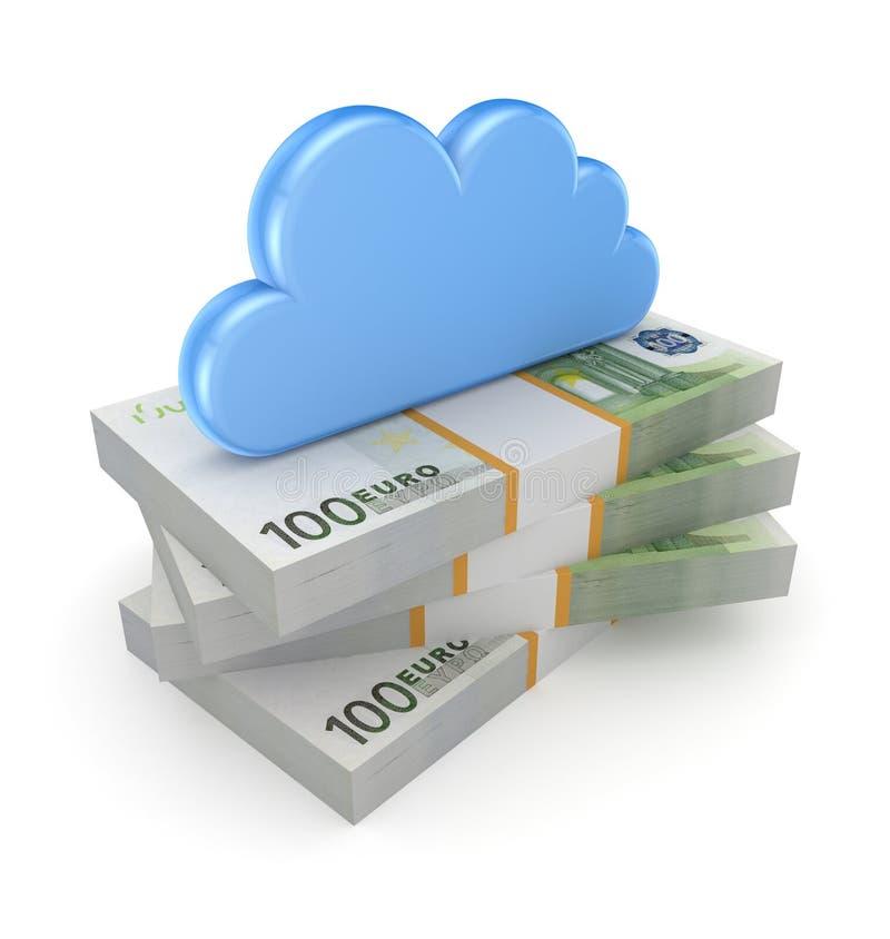 Σύννεφο σε έναν σωρό του ευρώ. ελεύθερη απεικόνιση δικαιώματος