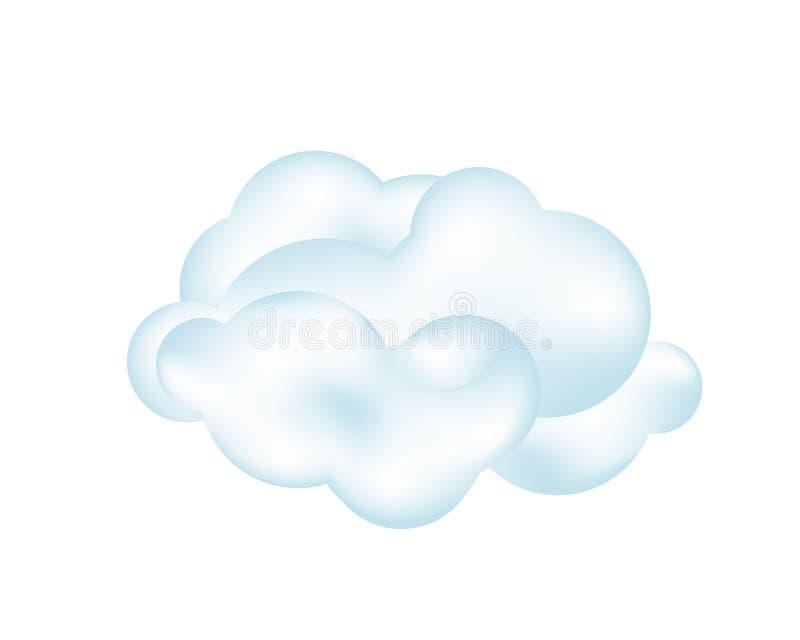 Σύννεφο στο άσπρο υπόβαθρο διάνυσμα διανυσματική απεικόνιση