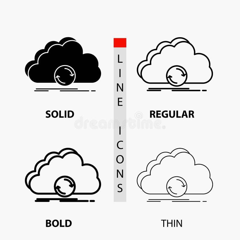 σύννεφο, συγχρονισμός, στοιχεία, εικονίδιο συγχρονισμού στη λεπτά, κανονικά, τολμηρά γραμμή και το ύφος Glyph r ελεύθερη απεικόνιση δικαιώματος