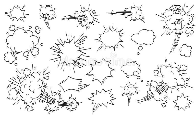 Σύννεφο ταχύτητας κωμικό Διανυσματικό σύνολο σύννεφων κινήσεων κινούμενων σχεδίων γρήγορο διανυσματική απεικόνιση