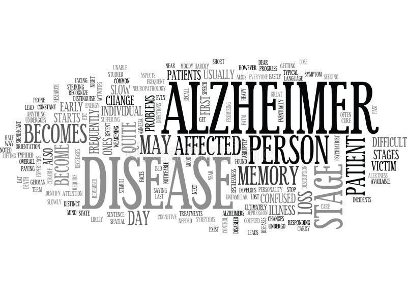 Σύννεφο του ερευνητικού Word του Alzheimer διανυσματική απεικόνιση