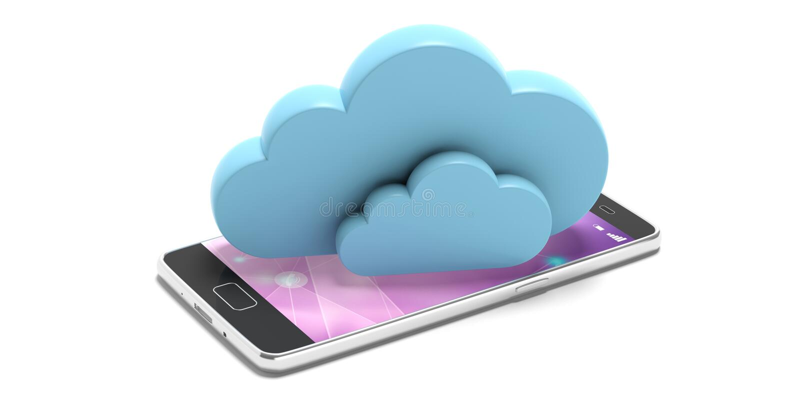 σύννεφο του 2010 που υπολ&omicron Μπλε σύννεφα σε ένα smartphone, που απομονώνεται στο άσπρο υπόβαθρο τρισδιάστατη απεικόνιση ελεύθερη απεικόνιση δικαιώματος