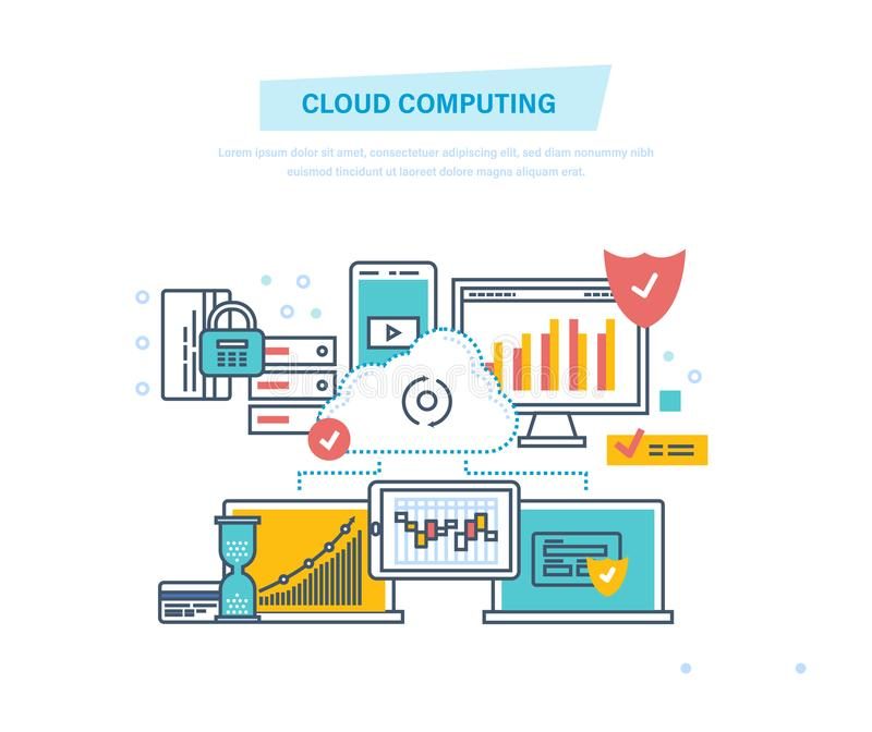 σύννεφο του 2010 που υπολ&omicron Υπηρεσία σύννεφων δικτύων Συσκευή υπολογιστών, αποθήκευση αρχείων ασφάλειας διανυσματική απεικόνιση