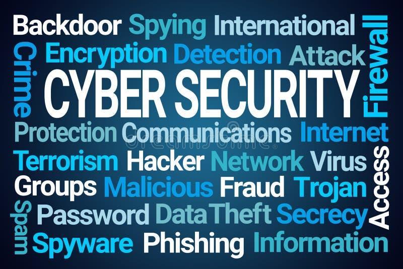 Σύννεφο του Word ασφάλειας Cyber διανυσματική απεικόνιση