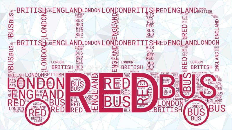 Σύννεφο του Word λεωφορείων του Λονδίνου που απομονώνεται στο polygonal μπλε υπόβαθρο ελεύθερη απεικόνιση δικαιώματος