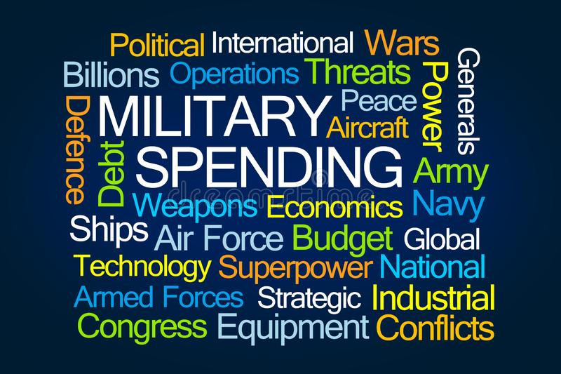 Σύννεφο του Word στρατιωτικών δαπανών ελεύθερη απεικόνιση δικαιώματος