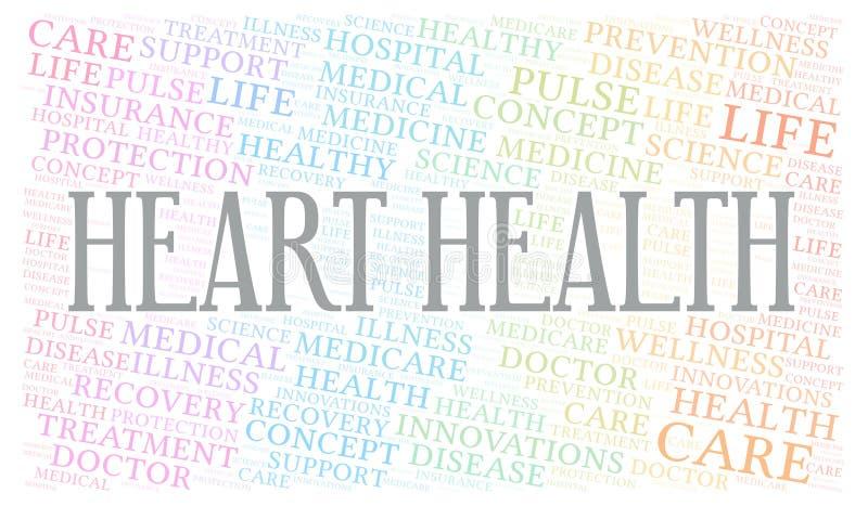 Σύννεφο του Word υγείας καρδιών διανυσματική απεικόνιση