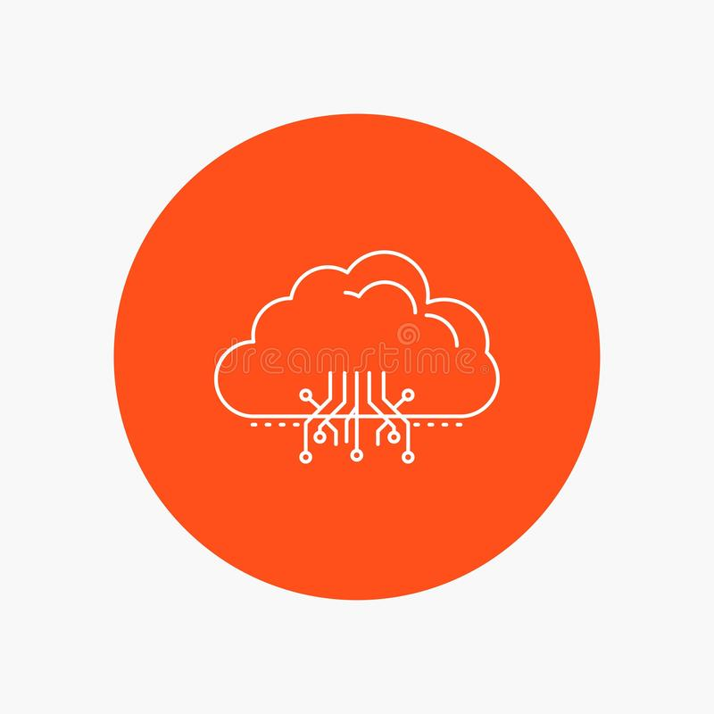 σύννεφο, υπολογισμός, στοιχεία, φιλοξενία, άσπρο εικονίδιο γραμμών δικτύων στο υπόβαθρο κύκλων διανυσματική απεικόνιση εικονιδίων ελεύθερη απεικόνιση δικαιώματος