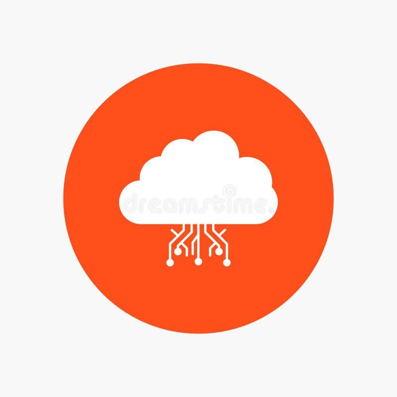σύννεφο, υπολογισμός, στοιχεία, φιλοξενία, άσπρο εικονίδιο Glyph δικτύων στον κύκλο r απεικόνιση αποθεμάτων