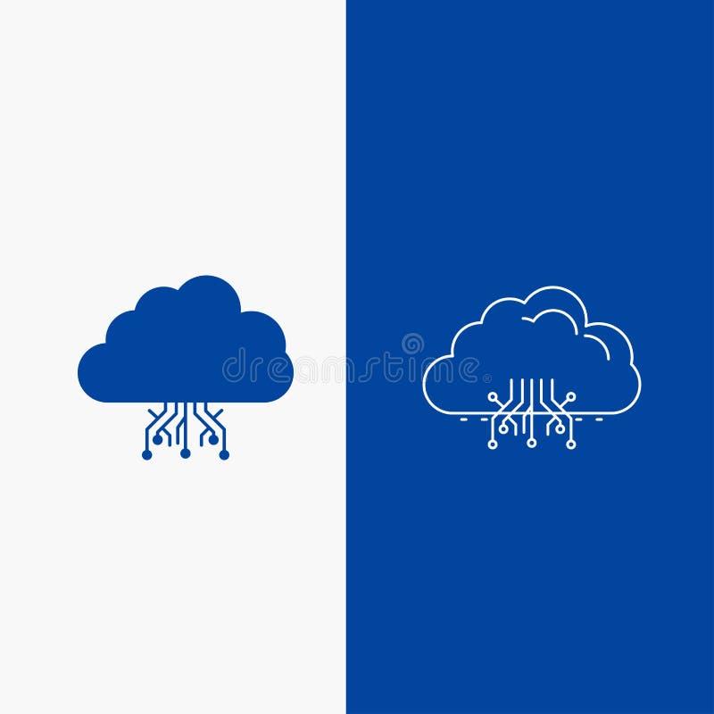 σύννεφο, υπολογισμός, στοιχεία, φιλοξενία, γραμμή δικτύων και κουμπί Ιστού Glyph στο μπλε κάθετο έμβλημα χρώματος για UI και UX,  απεικόνιση αποθεμάτων