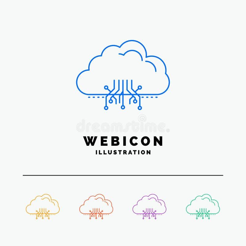 σύννεφο, υπολογισμός, στοιχεία, φιλοξενία, δίκτυο 5 πρότυπο εικονιδίων Ιστού γραμμών χρώματος που απομονώνεται στο λευκό r απεικόνιση αποθεμάτων