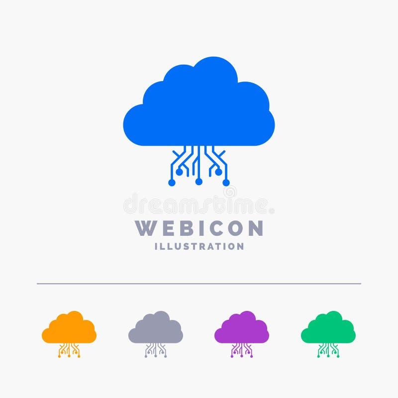 σύννεφο, υπολογισμός, στοιχεία, φιλοξενία, δίκτυο 5 πρότυπο εικονιδίων Ιστού Glyph χρώματος που απομονώνεται στο λευκό r ελεύθερη απεικόνιση δικαιώματος