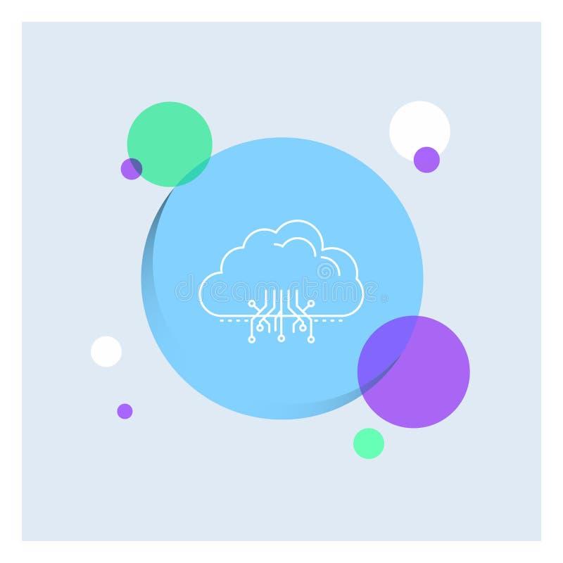 σύννεφο, υπολογισμός, στοιχεία, φιλοξενία, δικτύων άσπρο γραμμών υπόβαθρο κύκλων εικονιδίων ζωηρόχρωμο απεικόνιση αποθεμάτων