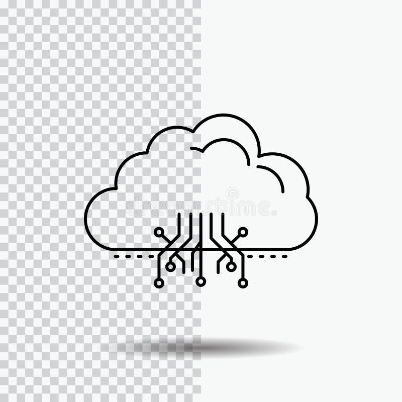 σύννεφο, υπολογισμός, στοιχεία, φιλοξενία, εικονίδιο γραμμών δικτύων στο διαφανές υπόβαθρο Μαύρη διανυσματική απεικόνιση εικονιδί ελεύθερη απεικόνιση δικαιώματος